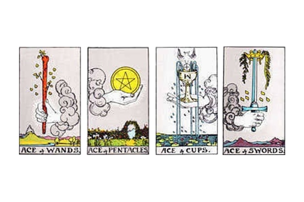 The suits of the cards in the tarot and their elements